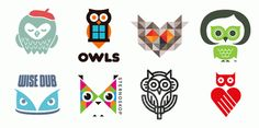 Owl logos  TOP (left to right): Fellow Creatives Owl by Gerren Lamson; OWLS by Gardner Design; Cloudowl by Nine6 Ltd.; Penny Lane by BlaseDesign; BOTTOM (left to right): Wise Dub by Roy Smith Design; Sternoskop by Ljubica Rapaic; owlPod by Cresk Design; Bildung mit Herz by Karl Design Vienna