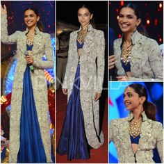 Deepika Padukone looked sensational in Anamika Khanna at the Umang Police Show last night. She looked gorgeous in a sapphire blue bralet and skirt th. Traditional Fashion, Traditional Dresses, Latest Indian Fashion Trends, Latest Trends, Pakistani Couture, Indian Couture, Choli Dress, Anamika Khanna, Bollywood Fashion