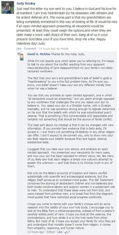 Atheism in family  A truly wonderful, and thoughtful response to a believer who is criticizing her son's choice of beliefs.