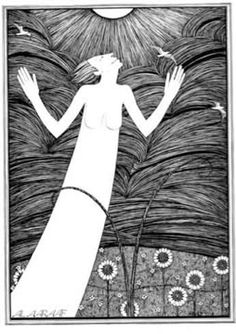 'Sun', Hannah Frank (1943) Pen and ink 45.5 cm x 32.3 cm Hannah Frank Collection. Available for sale signed.