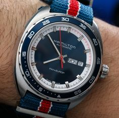 Hamilton Automatic 'Pan Europ', Day-Date watch from the 1970s... I had one very similar to this *also on a NATO strap) circa 1974!