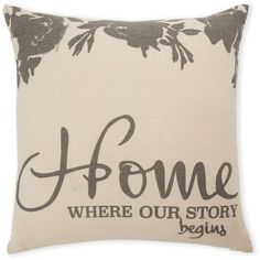 Rodeo Home Our Story Decorative Pillow ($9.99) ❤ liked on Polyvore featuring home, home decor, throw pillows, pillows, decoration, grey, gray accent pillows, graphic throw pillows, grey home decor and rodeo home throw pillows