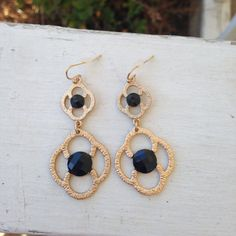 Gold and Black Drop Earrings....only $12!!!!!