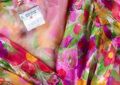 11ed659b101 Vintage Yves Saint Laurent Sheer Metallic Floral Silk Plunge Neck Peplum  Blouse