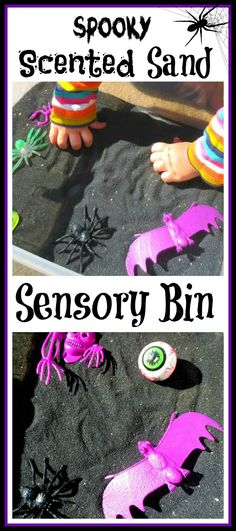 A Halloween sensory bin- made with  Scented Sand! I think I just found our next sensory bin :)