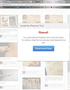 """WARNING! If you have pulled up a page that says, """"You must install the Pinterest Tool to view this recipe. To continue, install the tool and enjoy more features of our site."""" All of them are for """"greatrecipestomake.blogspot.com"""" web addresses. IT'S A SCAM!    The box features the same design, logo and look of the Pinterest site. However, the """"Download"""" button directs to """"pintrerets.com"""" NOT Pinterest! This is a screen grab of the suspicious page. DON'T CLICK ON IT! Help spread the word."""