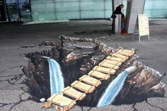 Street artist Eduardo Relero's 3D illusions on pavement