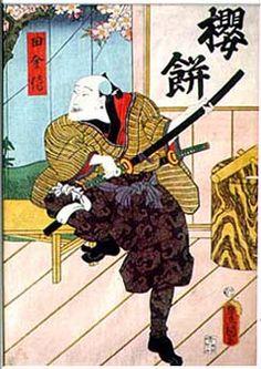 櫻餅「田舎侍」 三代豊国・画 (36×25cm)