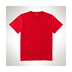 Polo Ralph Lauren Classic-Fit Cotton Pocket Tee ($45) ❤ liked on Polyvore featuring men's fashion, men's clothing, men's shirts, men's t-shirts, mens crew neck t shirts, mens short sleeve shirts, j crew mens shirts, mens short sleeve t shirts and mens pocket t shirts
