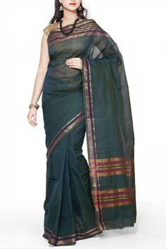 Deep Green Dhoop Chaon Cotton Mangalgiri Saree