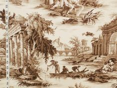 brown and white toile fabric | The grey is calm, and the brown is dark and rich!