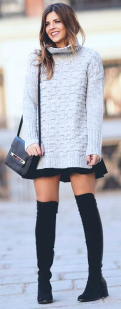 For a cute and casual look, try wearing a pale knit sweater over a mini dress…