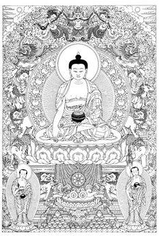 Buddha Shakyamuni Buddhist Wheel Of Life, Buddha Tattoo Design, Tibet Art, Zen Colors, Buddhist Practices, Thangka Painting, Buddha Art, Hindu Art, Art Icon