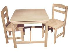 Child's Table and Chairs-3 Piece Set by MS Home Products. $139.99. A solid table of their own constructed from parawood. Kids will spend many hours at this table: playing, dining, having tea or convening little board meetings. Our solid hardwood chairs are designed with durability in mind. Seat height is 13.75 inches- a perfect fit with the table. Table measures 25x25x22 inches high. These items ship boxed- SOME ASSEMBLY REQUIRED. Each purchase includes 1 table and 2 chairs.