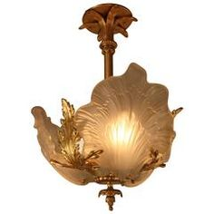 French Bronze and Glass Art Nouveau Chandelier