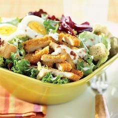 This low-fat main-dish salad topped with oven-fried turkey cutlets, beets, hard-cooked eggs, and croutons makes a satisfying dinner with a pleasing mix of flavors and textures.