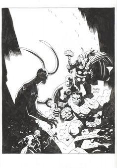 Loki vs. The Avengers (Inking) by Mike Mignola
