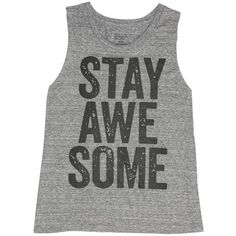 Billabong Women's Stay Awesome Muscle Tee found on Polyvore featuring tops, shirts, tank tops, tanks, dark athletic grey, t-shirt/prints, summer shirts, heart shirt, grey tank top and summer tank tops