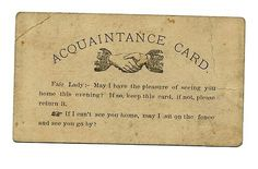 Escort courting card. Victorian era. Why are things still not this lovely and elegant?