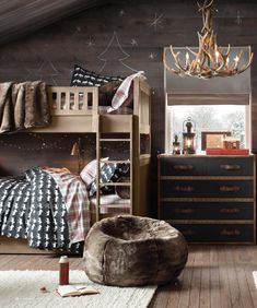 Adorable boys room - love the dark walls and light furniture...and that dresser! {2013 Holiday Catalog | Restoration Hardware Baby & Child}