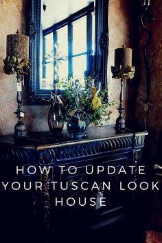 Want to update your Tuscan look home you furnished not too long ago without throwing everything out and starting over? Want something new and fresh without spending a fortune again? Tuscan Style Homes, Tuscan House, Style Toscan, Tuscan Living Rooms, Tuscan Furniture, Tuscany Decor, Tuscany Italy, Gold Sofa, Blue Shutters
