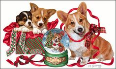 """Corgi Christmas cards are 8 1/2"""" x 5 1/2"""" and come in packages of 12 cards. One design per package. All designs include envelopes, your personal message, and choice of greeting. Select the greeting of your choice from the drop-down menu above. Add your personal message to the Comments box during checkout."""