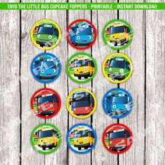 Tayo the Little Bus Cupcake Toppers Tayo by LetsPrintAParty