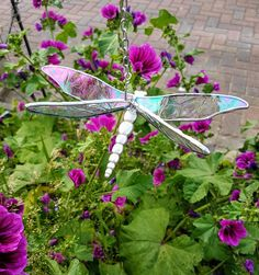 Handmade Stained glass Dragonfly with tin body
