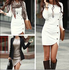 Super Cute! Love this Dress! White Plain Buttons Long Sleeve Dress #Sexy #White #Button #Mini_Dresses #Dresses #Tall #Boots #Fashion #Ideas