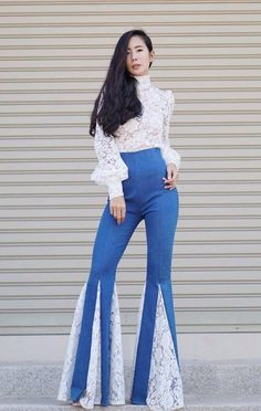 Women s High Waisted Jeans White Lace Insets Wide Flare Bell Bottom Pants Vintage  70s Style b3aeae0ba
