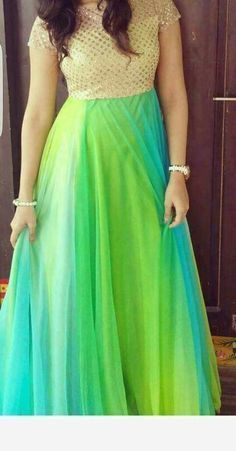 New long frocks Indian Fashion Dresses, Indian Gowns Dresses, Indian Designer Outfits, Fashion Outfits, Long Dress Design, Dress Neck Designs, Blouse Designs, Kurtha Designs, Half Saree Designs