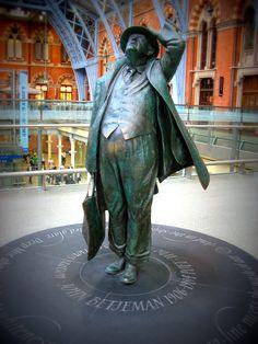 London, England - St Pancras Statue of Sir John Betjemen
