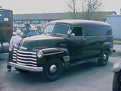 Black panel truck with chrome grill
