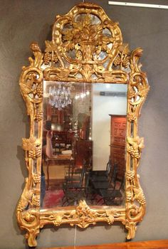 A Louis XV period gilded wood provencal mirror ,18th century. >> For sale on Proantic by Frank baptiste #provencal #mirror #18th