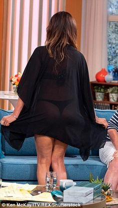 Lizzie Cundy shows off her bottom in a thong bikini on This Morning Kaftan, Thong Bikini, Bell Sleeve Top, Shows, Legs, Bikinis, Cameras, How To Wear, Women
