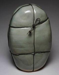 Ann Mallory    BUNDLE #13  Sculpture high-fired ceramic, aged copper wire  21 x 13 x 10 inches