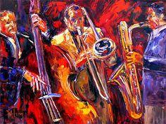 "Jazz Music Abstract Art | Jazz Trio"" Abstract Jazz Art , Music Art Paintings, by Texas Artist ..."