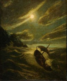 Sea Tragedy by Albert Pinkham Ryder Oil on Canvas Reproduction from Beverly A Mitchell American Art Gallery. All Artwork can be optionally framed. We ship Worldwide. Nocturne, Painting Gallery, Art Gallery, Moonlight Painting, Fantasy Landscape, Sculpture, Figure Painting, Time Painting, French Artists
