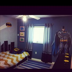 Boy's batman room. I like the batman decal by the window