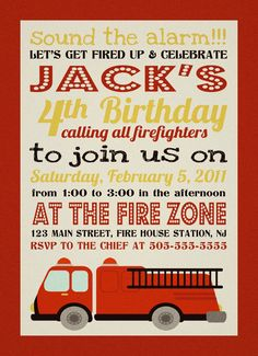 Firefighter fire truck Birthday Invitation