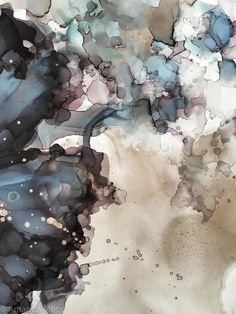 detail of smoke and mirrors abstract ink and gold leaf on claybord by nc artist amanda moody