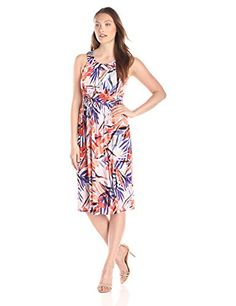 Sangria Womens Sleeveless Keyhole Shirred Waist Palm Print Fit and Flare Dress CoralMulti 10 -- Find out more about the great product at the image link.