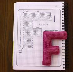 Amigurumi letter F Crochet Alphabet Letters, Crochet Letters Pattern, Letter Patterns, Crochet Motifs, Crochet Diagram, Crochet Stitches, Crochet Patterns, Crochet Amigurumi, Amigurumi Patterns