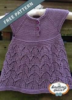 Paulina Knitted Baby Dress [FREE Knitting Pattern] - - Add This Pretty Paulina Knitted Baby Dress To Your Wee Girl's Wardrobe. Baby Sweater Patterns, Knit Baby Sweaters, Baby Dress Patterns, Easy Knitting Patterns, Free Knitting, Knitted Baby, Vogue Knitting, Crochet Patterns, Crochet Baby Dress Pattern