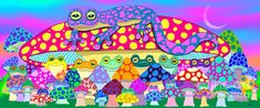 Frogs Painting - Mushroom Meadow Frogs by Nick Gustafson