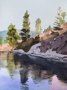 Eva Bartel, Morning Okanagan Lake Watercolor Landscape Paintings, Artist, Artists, Watercolor Landscape