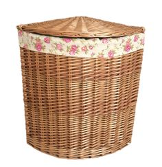 Corner Garden Rose Lining Wicker Laundry Bin August Grove Colour: Light Steamed, Size: Large H x W x D) Laundry Bin, Laundry Hamper, Corner Laundry Basket, Basket Vintage, Corner Garden, Hazelwood Home, Diy Garden Decor, Wicker Baskets, Light In The Dark