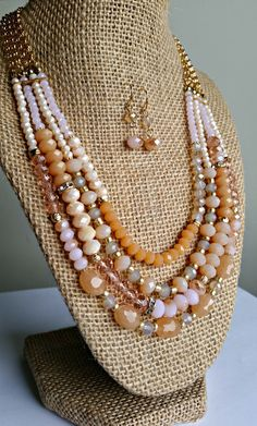 Peach, Pink and Gold Beaded Multi-Strand Necklace Set