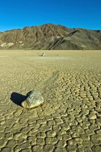 Sailing stones of Racetrack Playa in Death Valley, California. Sailing stones are rocks that move, seemingly without any force, leaving behind trails that can be hundreds of feet long. #CoxandKings