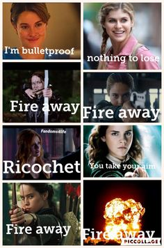 Hazel Grace (TFIOS), Annabeth Chase (Percy Jackson), Katniss Everdeen (The Hunger Games), Tris Prior (Divergent), Clary Fray (Shadowhunters),  Hermione Granger (Harry Potter), Susan Pensieve (Chronicles of Narnia)
